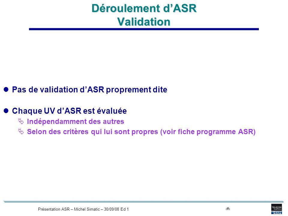 Présentation ASR – Michel Simatic – 30/09/08 Ed 118 Déroulement dASR Validation Pas de validation dASR proprement dite Chaque UV dASR est évaluée Indépendamment des autres Selon des critères qui lui sont propres (voir fiche programme ASR)