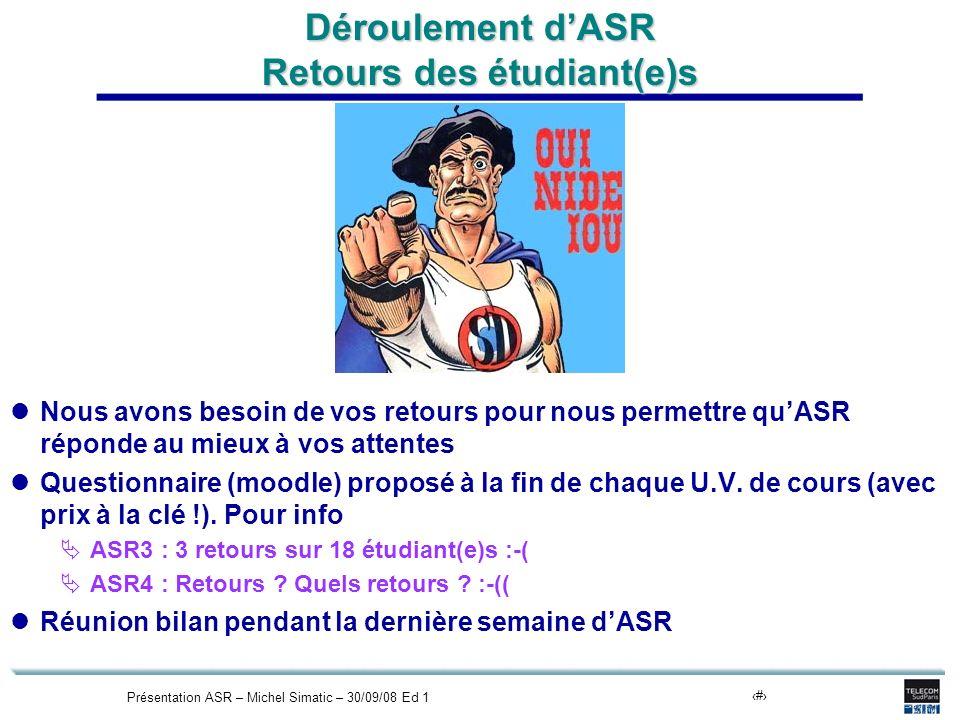 Présentation ASR – Michel Simatic – 30/09/08 Ed 119 Déroulement dASR Retours des étudiant(e)s Nous avons besoin de vos retours pour nous permettre quASR réponde au mieux à vos attentes Questionnaire (moodle) proposé à la fin de chaque U.V.