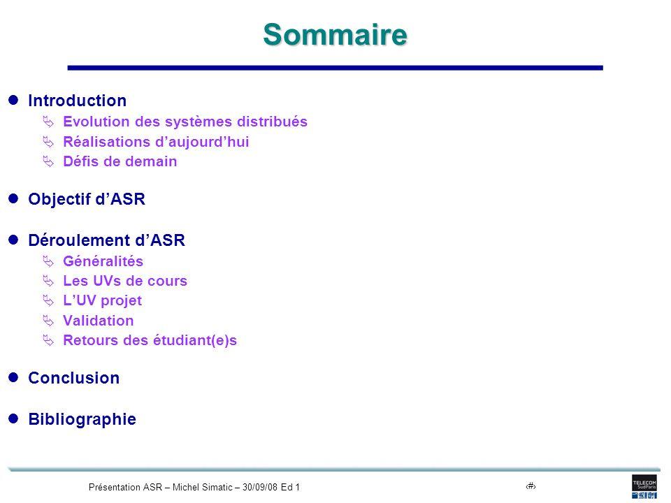 Présentation ASR – Michel Simatic – 30/09/08 Ed 12Sommaire Introduction Evolution des systèmes distribués Réalisations daujourdhui Défis de demain Obj