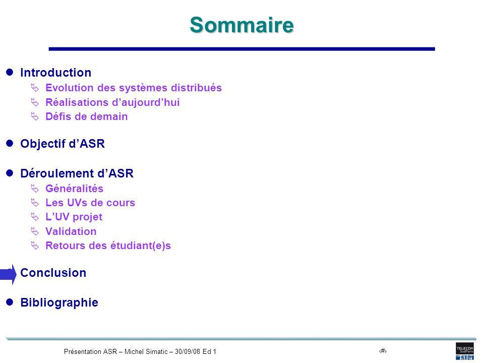 Présentation ASR – Michel Simatic – 30/09/08 Ed 120Sommaire Introduction Evolution des systèmes distribués Réalisations daujourdhui Défis de demain Ob