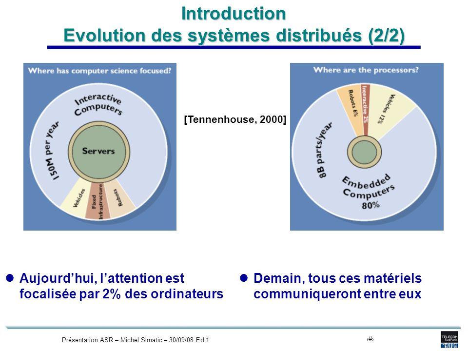 Présentation ASR – Michel Simatic – 30/09/08 Ed 15 Introduction Evolution des systèmes distribués (2/2) Aujourdhui, lattention est focalisée par 2% des ordinateurs Demain, tous ces matériels communiqueront entre eux [Tennenhouse, 2000]