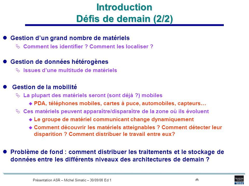 Présentation ASR – Michel Simatic – 30/09/08 Ed 18 Introduction Défis de demain (2/2) Gestion dun grand nombre de matériels Comment les identifier ? C