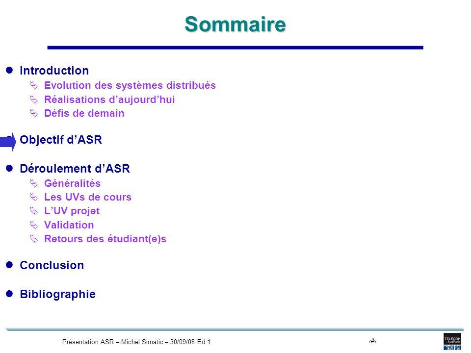 Présentation ASR – Michel Simatic – 30/09/08 Ed 19Sommaire Introduction Evolution des systèmes distribués Réalisations daujourdhui Défis de demain Obj