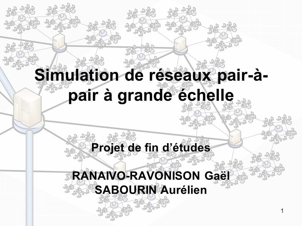 1 Simulation de réseaux pair-à- pair à grande échelle Projet de fin détudes RANAIVO-RAVONISON Gaël SABOURIN Aurélien