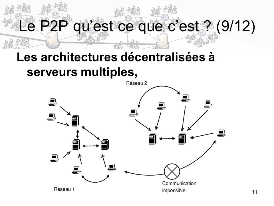 11 Le P2P quest ce que cest ? (9/12) Les architectures décentralisées à serveurs multiples,