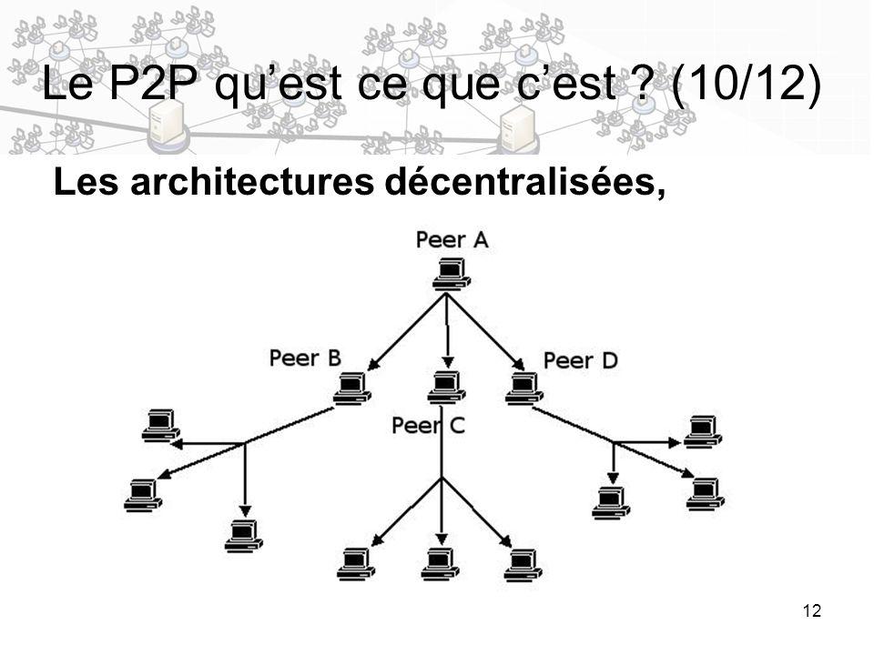 12 Le P2P quest ce que cest ? (10/12) Les architectures décentralisées,