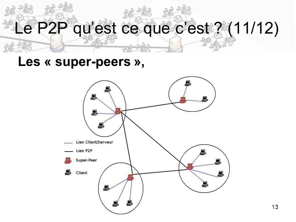 13 Les « super-peers », Le P2P quest ce que cest ? (11/12)