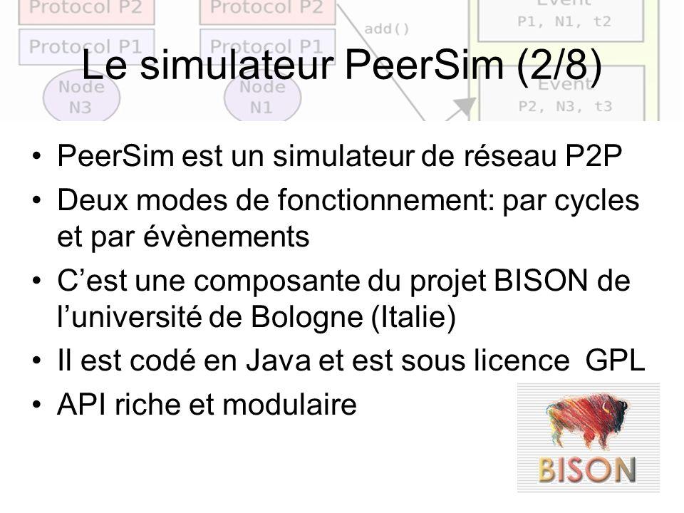 16 Le simulateur PeerSim (2/8) PeerSim est un simulateur de réseau P2P Deux modes de fonctionnement: par cycles et par évènements Cest une composante