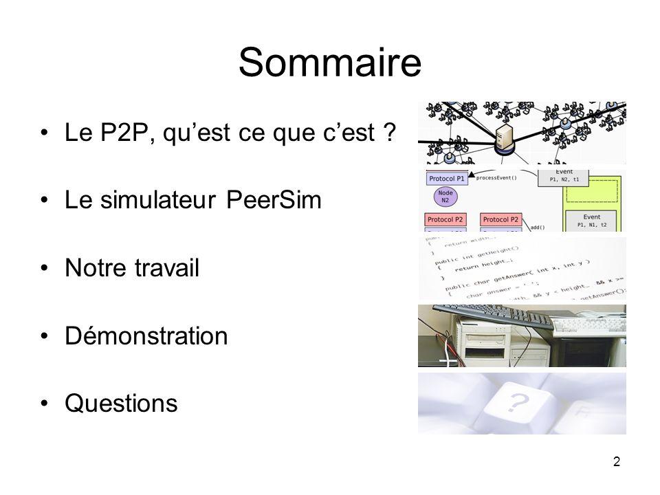 2 Sommaire Le P2P, quest ce que cest ? Le simulateur PeerSim Notre travail Démonstration Questions