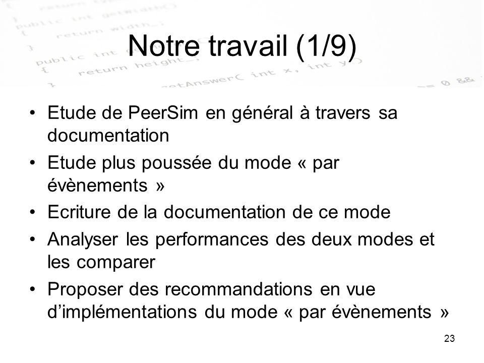 23 Notre travail (1/9) Etude de PeerSim en général à travers sa documentation Etude plus poussée du mode « par évènements » Ecriture de la documentati