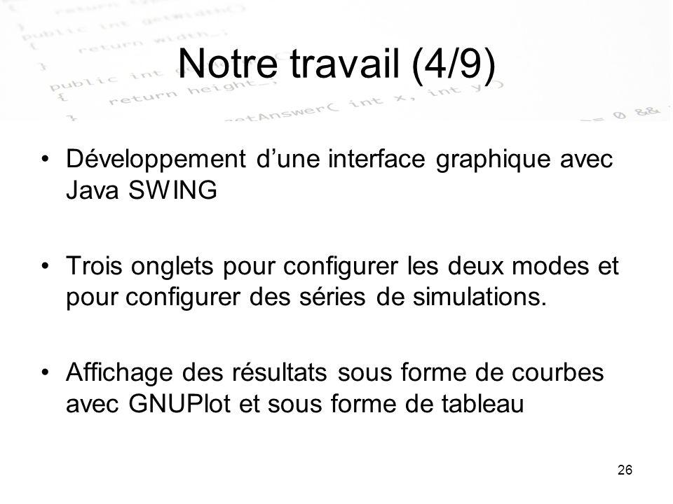 26 Notre travail (4/9) Développement dune interface graphique avec Java SWING Trois onglets pour configurer les deux modes et pour configurer des séri