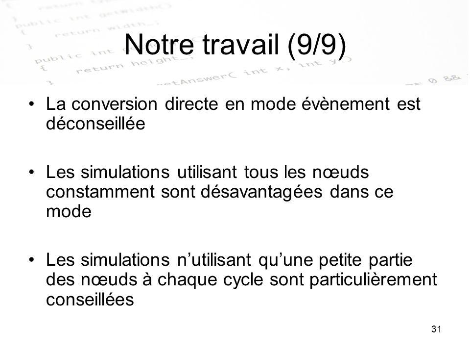 31 Notre travail (9/9) La conversion directe en mode évènement est déconseillée Les simulations utilisant tous les nœuds constamment sont désavantagée