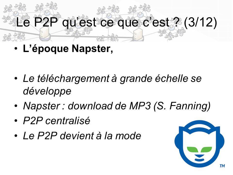 5 Le P2P quest ce que cest ? (3/12) Lépoque Napster, Le téléchargement à grande échelle se développe Napster : download de MP3 (S. Fanning) P2P centra