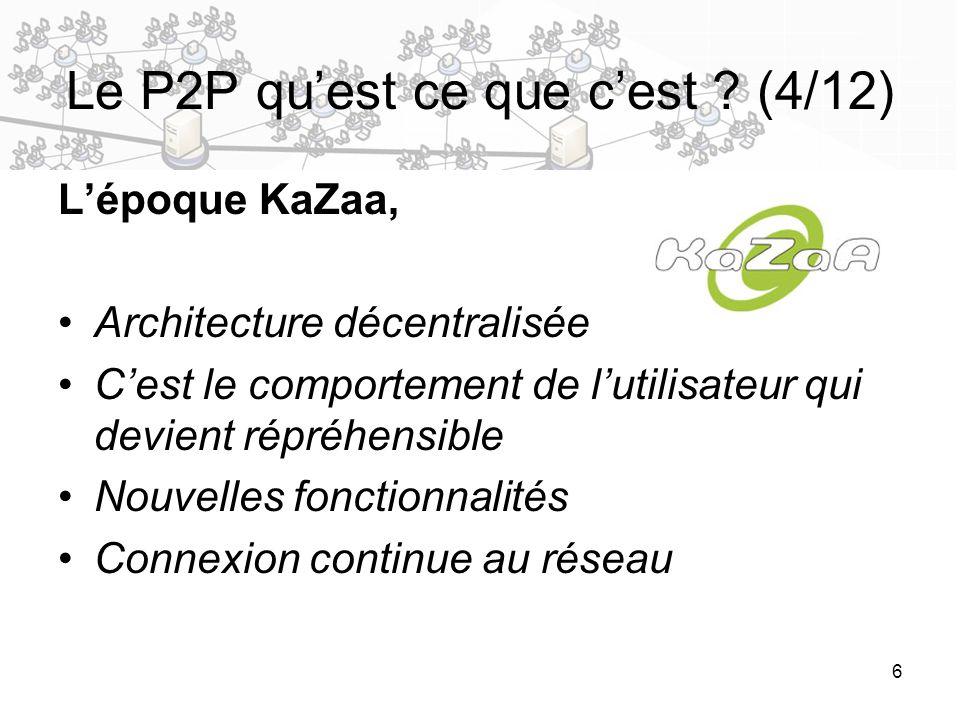 6 Le P2P quest ce que cest ? (4/12) Lépoque KaZaa, Architecture décentralisée Cest le comportement de lutilisateur qui devient répréhensible Nouvelles