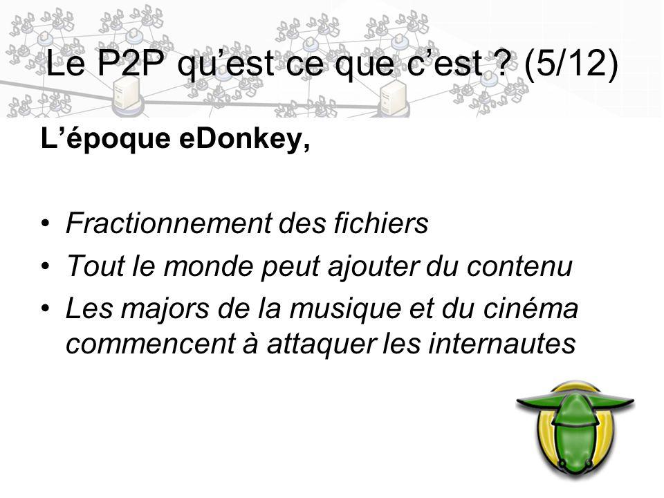 7 Le P2P quest ce que cest ? (5/12) Lépoque eDonkey, Fractionnement des fichiers Tout le monde peut ajouter du contenu Les majors de la musique et du
