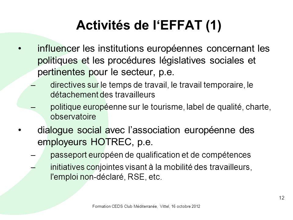 12 Activités de lEFFAT (1) influencer les institutions européennes concernant les politiques et les procédures législatives sociales et pertinentes pour le secteur, p.e.