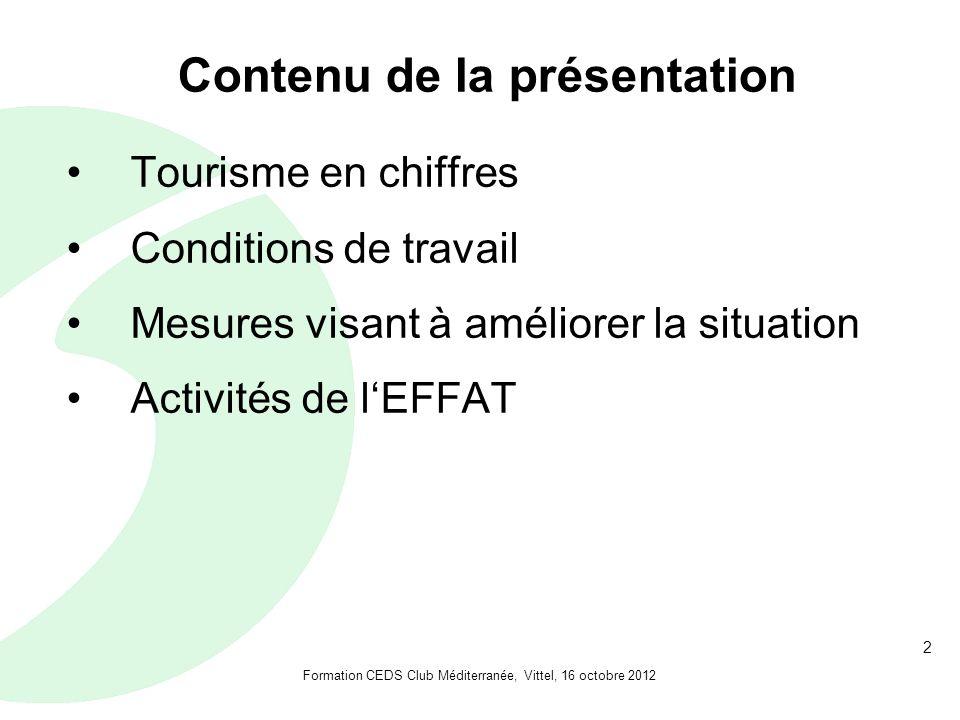 2 Contenu de la présentation Tourisme en chiffres Conditions de travail Mesures visant à améliorer la situation Activités de lEFFAT Formation CEDS Club Méditerranée, Vittel, 16 octobre 2012