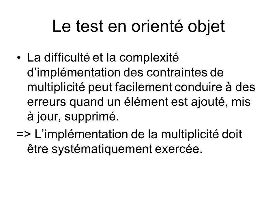 Le test en orienté objet Des classes avec des contraintes séquencielles sur lactivation des méthodes et leurs clients peuvent avoir des erreurs de séquencement.