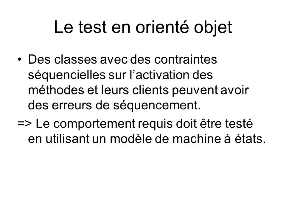 Le test en orienté objet Des classes avec des contraintes séquencielles sur lactivation des méthodes et leurs clients peuvent avoir des erreurs de séq
