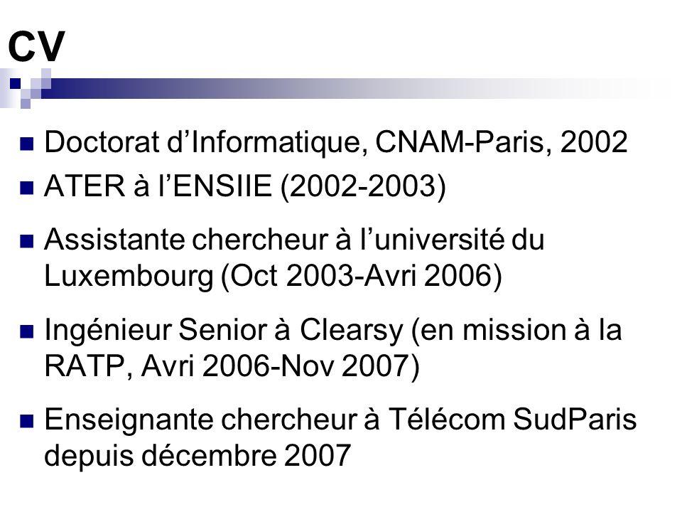 CV Doctorat dInformatique, CNAM-Paris, 2002 ATER à lENSIIE (2002-2003) Assistante chercheur à luniversité du Luxembourg (Oct 2003-Avri 2006) Ingénieur