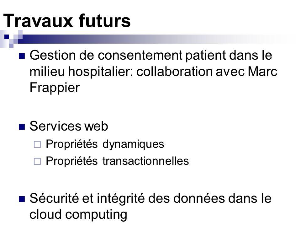 Travaux futurs Gestion de consentement patient dans le milieu hospitalier: collaboration avec Marc Frappier Services web Propriétés dynamiques Proprié