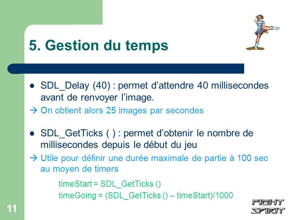 11 5. Gestion du temps SDL_Delay (40) : permet dattendre 40 millisecondes avant de renvoyer limage. On obtient alors 25 images par secondes SDL_GetTic