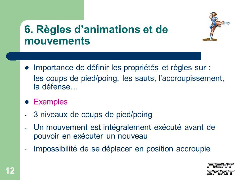 12 6. Règles danimations et de mouvements Importance de définir les propriétés et règles sur : les coups de pied/poing, les sauts, laccroupissement, l
