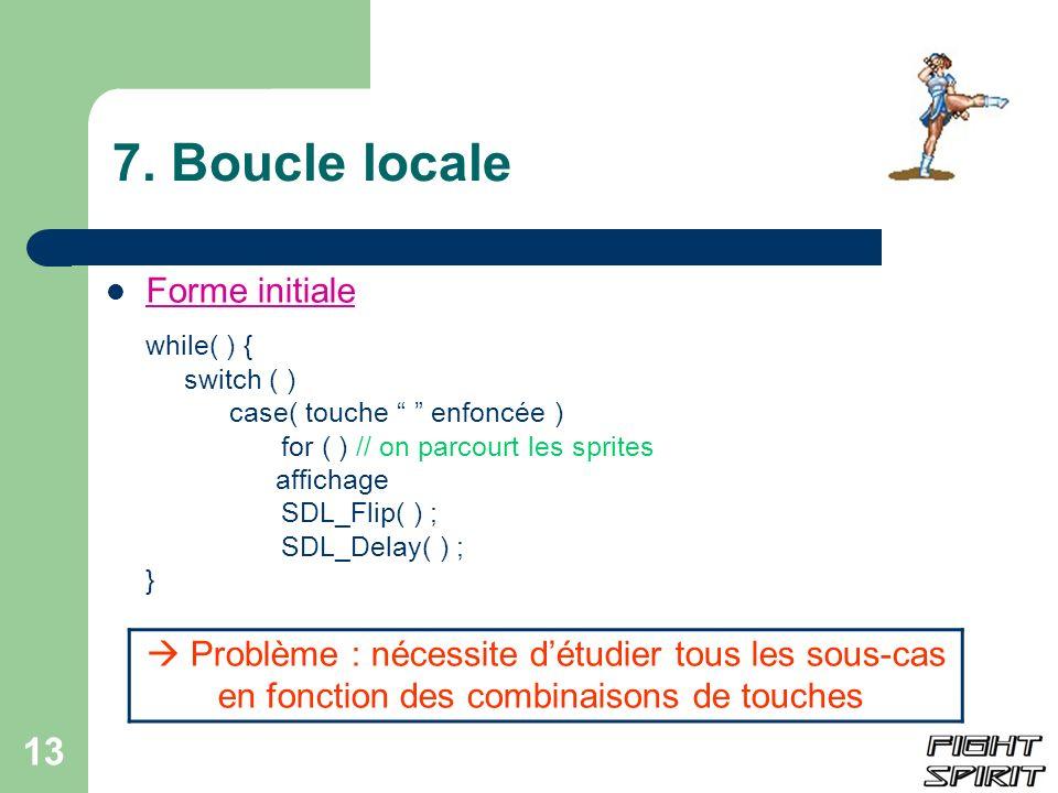 13 7. Boucle locale Forme initiale while( ) { switch ( ) case( touche enfoncée ) for ( ) // on parcourt les sprites affichage SDL_Flip( ) ; SDL_Delay(