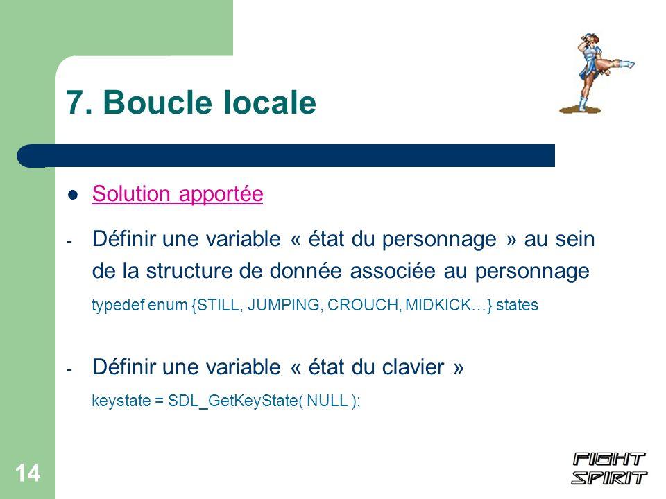 14 7. Boucle locale Solution apportée - Définir une variable « état du personnage » au sein de la structure de donnée associée au personnage typedef e