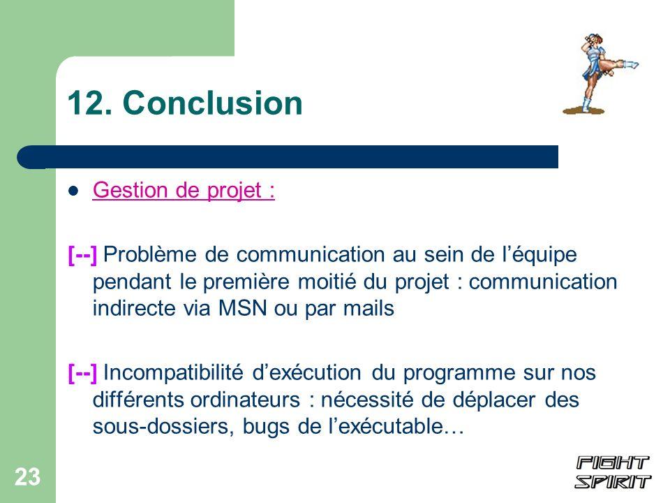 23 12. Conclusion Gestion de projet : [--] Problème de communication au sein de léquipe pendant le première moitié du projet : communication indirecte
