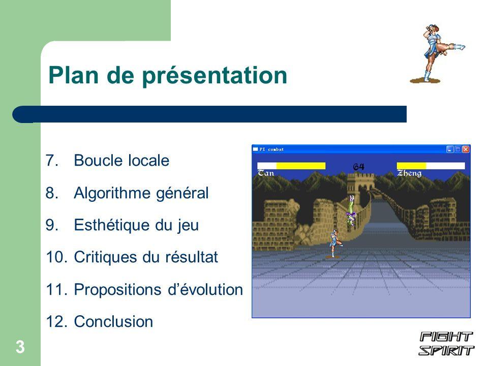 3 Plan de présentation 7.Boucle locale 8.Algorithme général 9. Esthétique du jeu 10.Critiques du résultat 11. Propositions dévolution 12.Conclusion