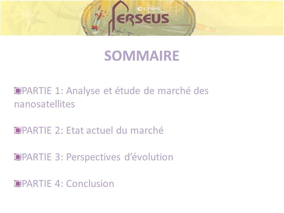 SOMMAIRE PARTIE 1: Analyse et étude de marché des nanosatellites PARTIE 2: Etat actuel du marché PARTIE 3: Perspectives dévolution PARTIE 4: Conclusio