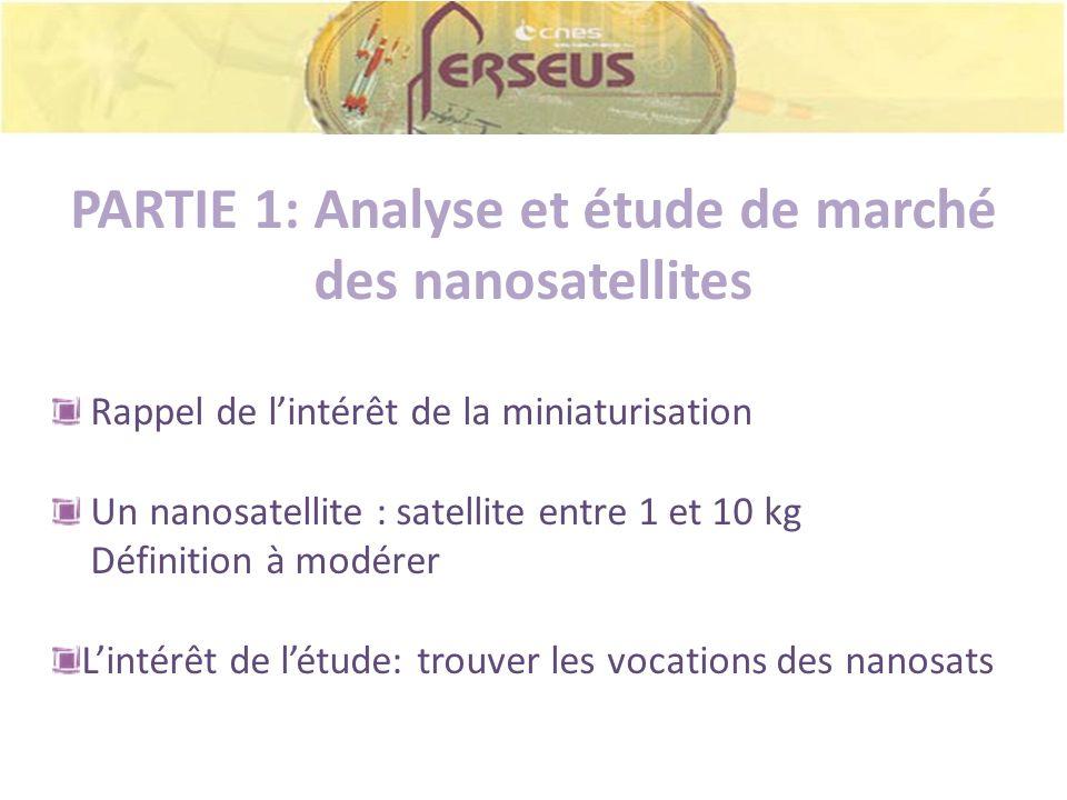 PARTIE 1: Analyse et étude de marché des nanosatellites Rappel de lintérêt de la miniaturisation Un nanosatellite : satellite entre 1 et 10 kg Définit