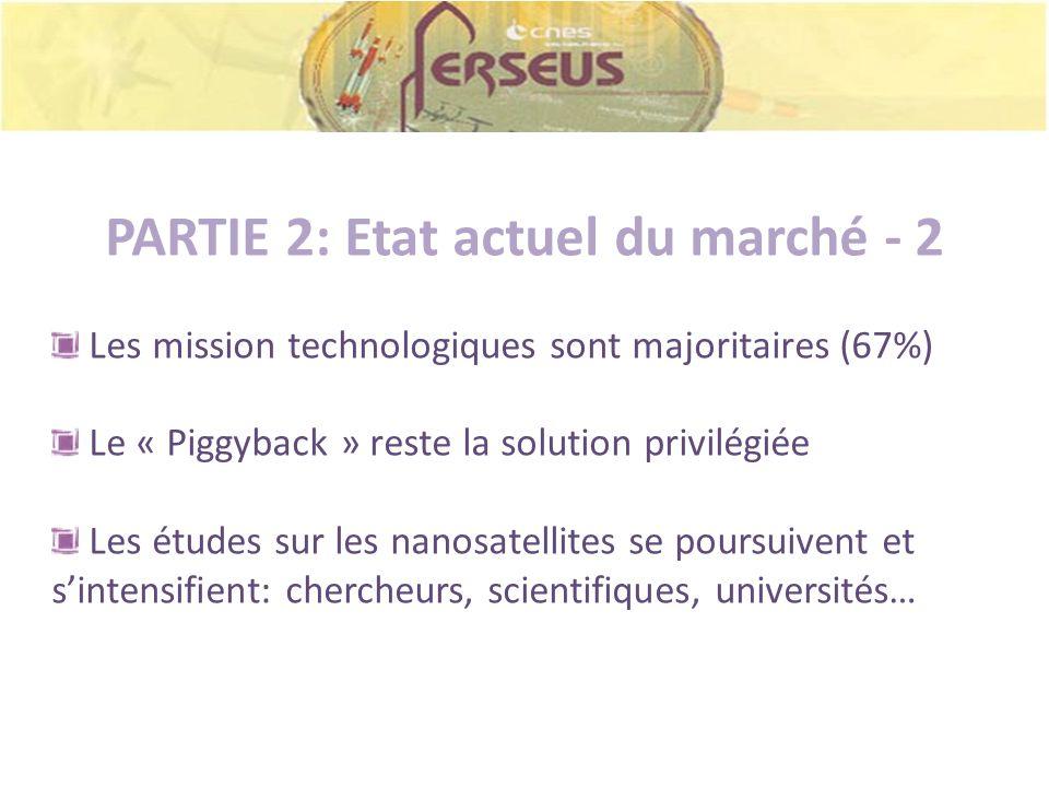 PARTIE 2: Etat actuel du marché - 2 Les mission technologiques sont majoritaires (67%) Le « Piggyback » reste la solution privilégiée Les études sur l