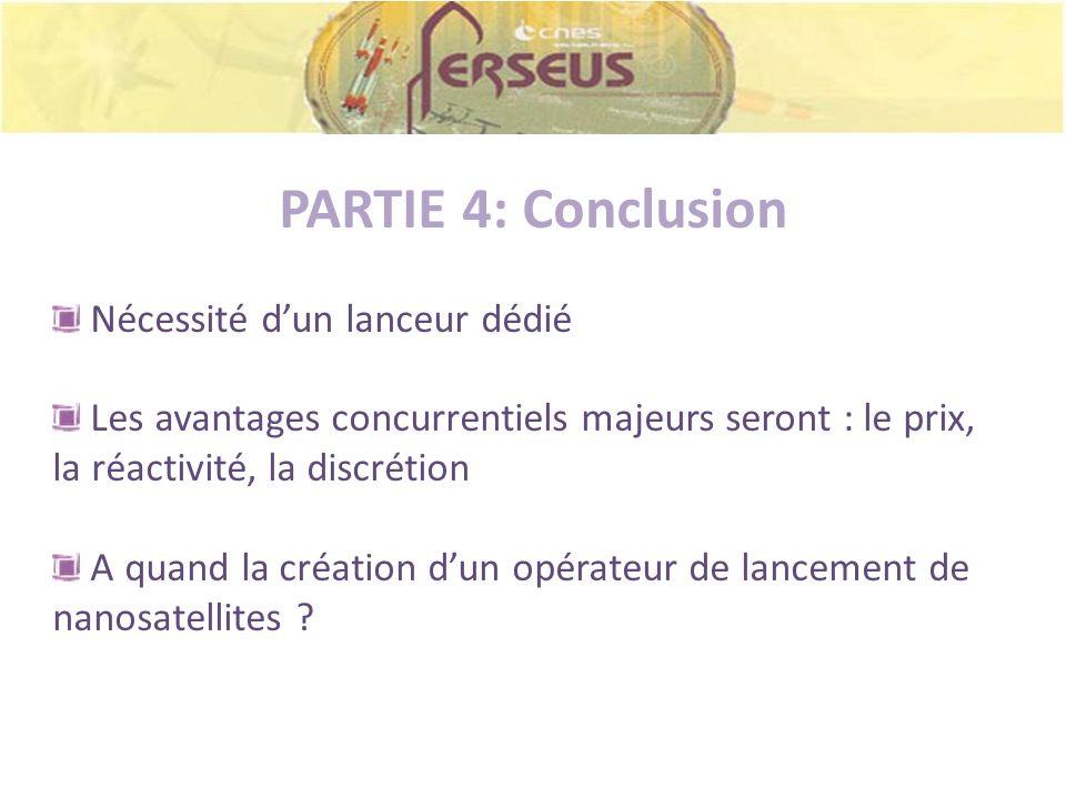 PARTIE 4: Conclusion Nécessité dun lanceur dédié Les avantages concurrentiels majeurs seront : le prix, la réactivité, la discrétion A quand la créati