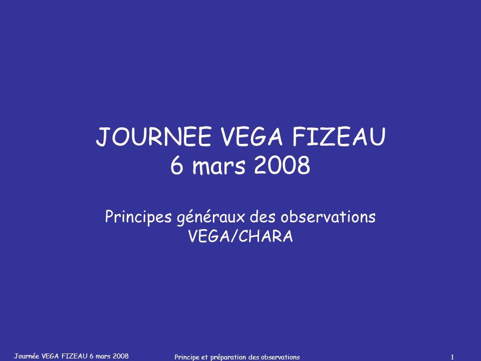 Journée VEGA FIZEAU 6 mars 2008 Principe et préparation des observations1 JOURNEE VEGA FIZEAU 6 mars 2008 Principes généraux des observations VEGA/CHARA