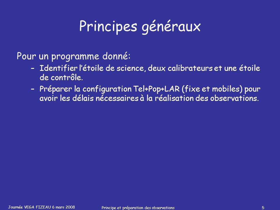 Journée VEGA FIZEAU 6 mars 2008 Principe et préparation des observations5 Principes généraux Pour un programme donné: –Identifier létoile de science,