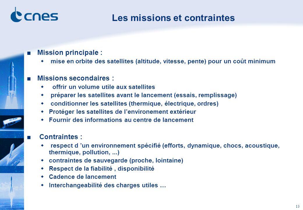 13 Mission principale : mise en orbite des satellites (altitude, vitesse, pente) pour un coût minimum Missions secondaires : offrir un volume utile au