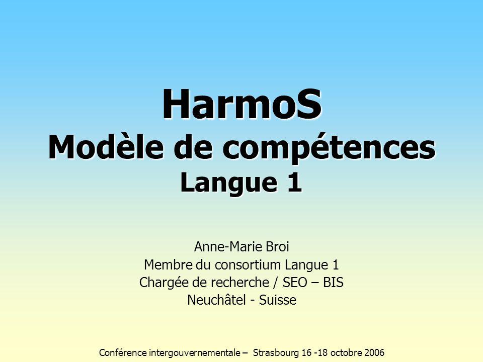 Anne-Marie Broi Membre du consortium Langue 1 Chargée de recherche / SEO – BIS Neuchâtel - Suisse HarmoS Modèle de compétences Langue 1 Conférence int