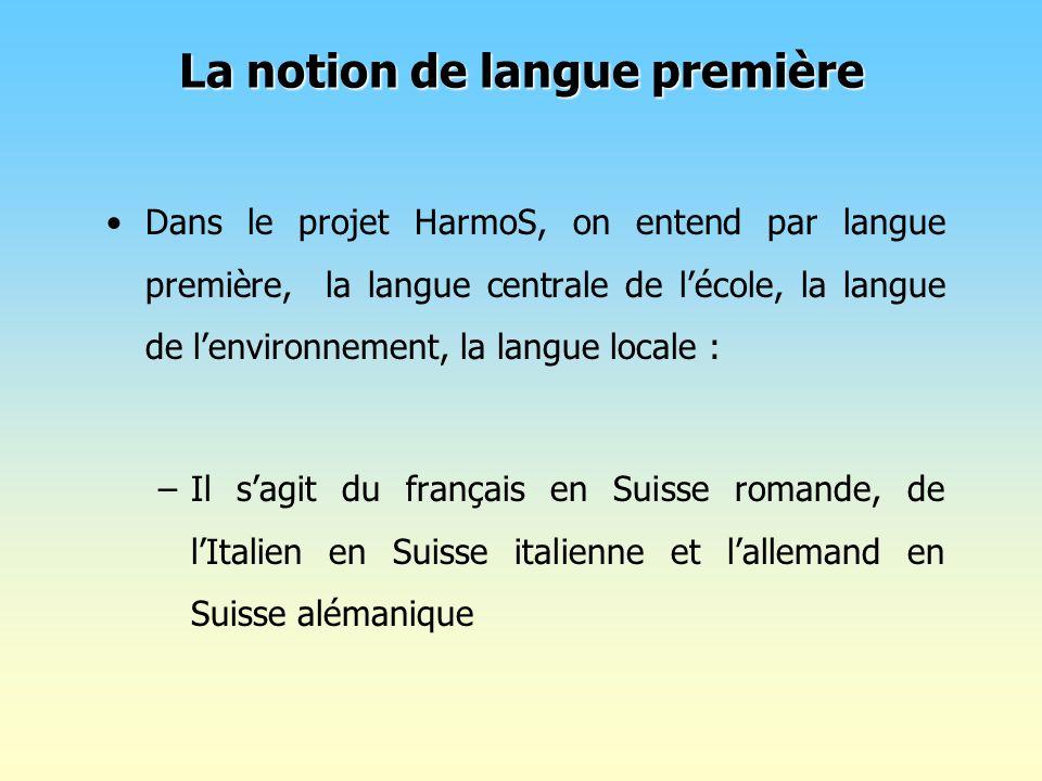 Dans le projet HarmoS, on entend par langue première, la langue centrale de lécole, la langue de lenvironnement, la langue locale : –Il sagit du franç