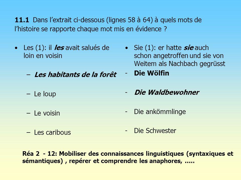 11.1 Dans lextrait ci-dessous (lignes 58 à 64) à quels mots de lhistoire se rapporte chaque mot mis en évidence ? Les (1): il les avait salués de loin