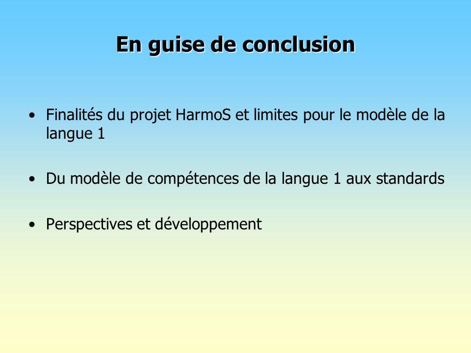 En guise de conclusion Finalités du projet HarmoS et limites pour le modèle de la langue 1 Du modèle de compétences de la langue 1 aux standards Persp