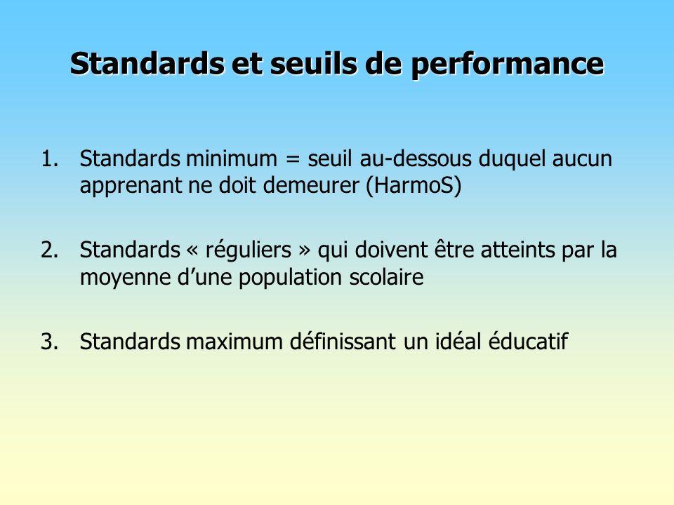 Standards et seuils de performance 1.Standards minimum = seuil au-dessous duquel aucun apprenant ne doit demeurer (HarmoS) 2.Standards « réguliers » q