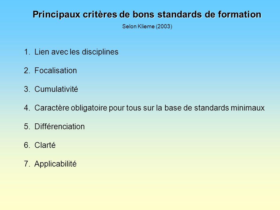 Principaux critères de bons standards de formation Selon Klieme (2003) 1.Lien avec les disciplines 2.Focalisation 3.Cumulativité 4.Caractère obligatoi