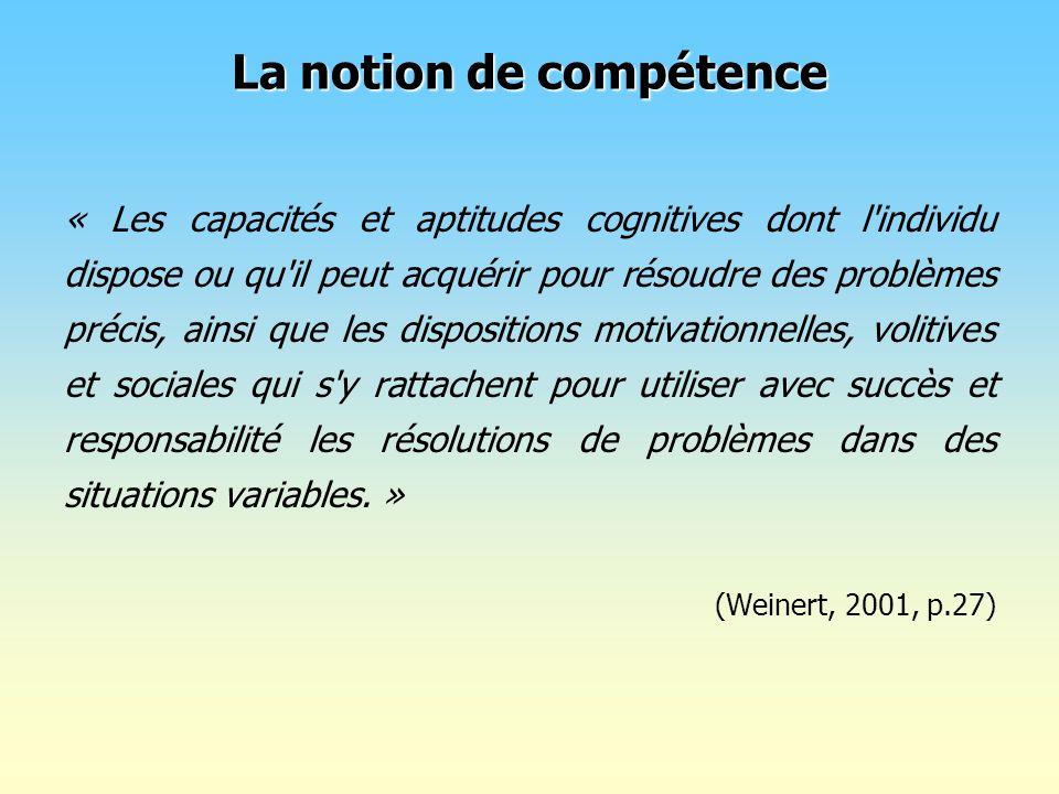 « Les capacités et aptitudes cognitives dont l'individu dispose ou qu'il peut acquérir pour résoudre des problèmes précis, ainsi que les dispositions