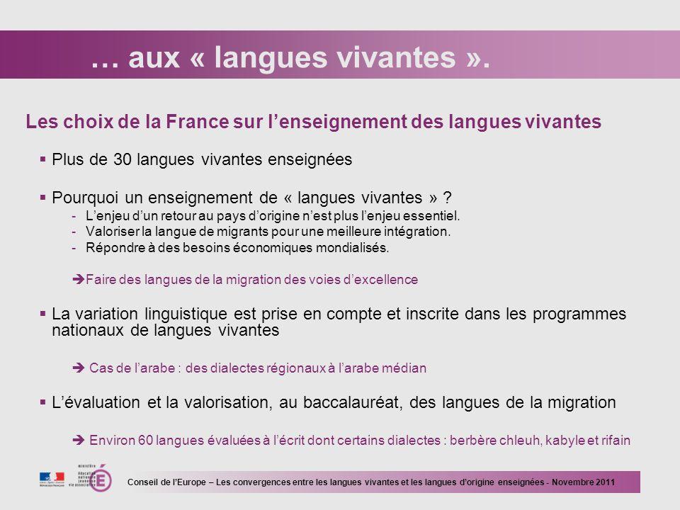 … aux « langues vivantes ».