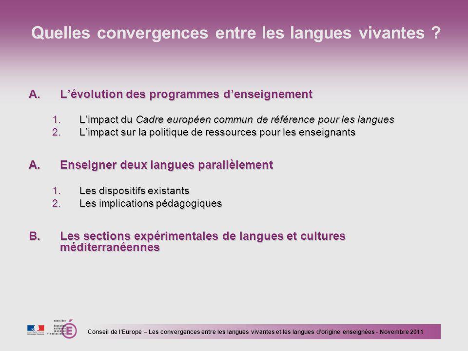 Quelles convergences entre les langues vivantes .