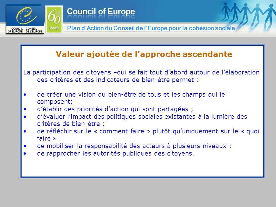Valeur ajoutée de lapproche ascendante La participation des citoyens –qui se fait tout dabord autour de lélaboration des critères et des indicateurs d