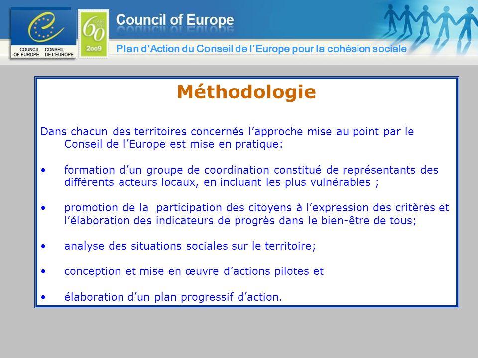 Méthodologie Dans chacun des territoires concernés lapproche mise au point par le Conseil de lEurope est mise en pratique: formation dun groupe de coo