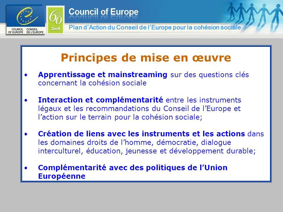 Principes de mise en œuvre Apprentissage et mainstreaming sur des questions clés concernant la cohésion sociale Interaction et complémentarité entre l